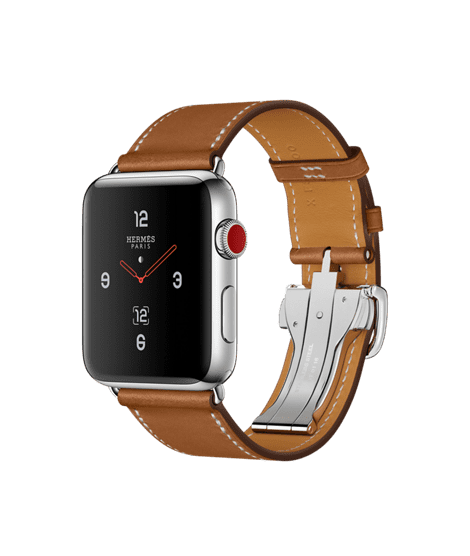 Apple Watch Hermès 42mm Stainless Steel Case with Fauve Barenia Leather Single Tour Deployment Buckle