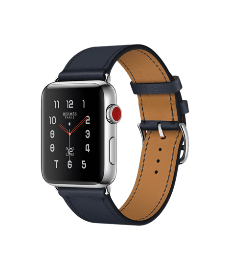 Apple Watch Hermès 42mm Stainless Steel Case with Indigo Swift Leather Single Tour