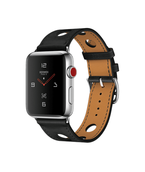 Apple Watch Hermès 42mm Stainless Steel Case with Noir Gala Leather Single Tour Rallye