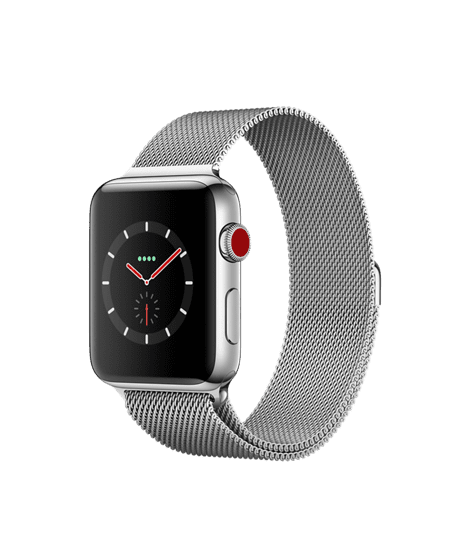 Apple Watch Series 3 GPS + Cellular 42mm, Stainless Steel Case with Milanese Loop