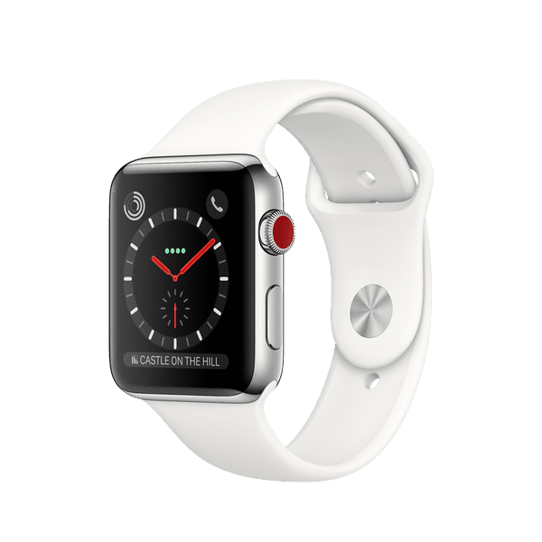 Apple Watch Series 3 GPS + Cellular 42mm, Stainless Steel Case with Soft White Sport Band