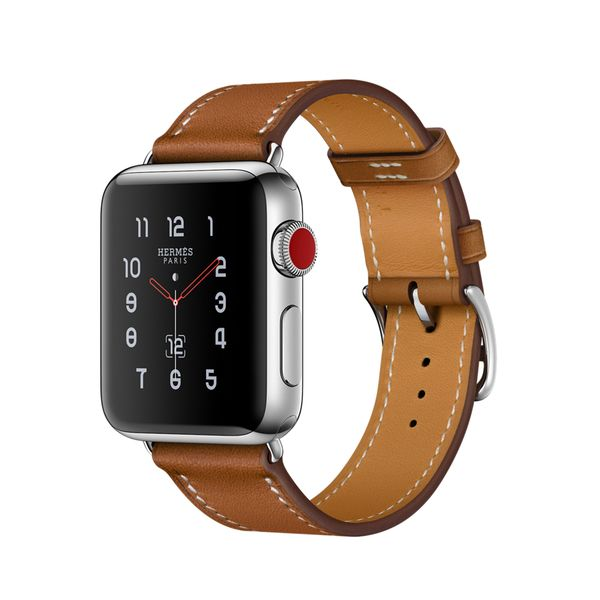 Apple Watch Hermès 38mm Stainless Steel Case with Fauve Barenia Leather Single Tour