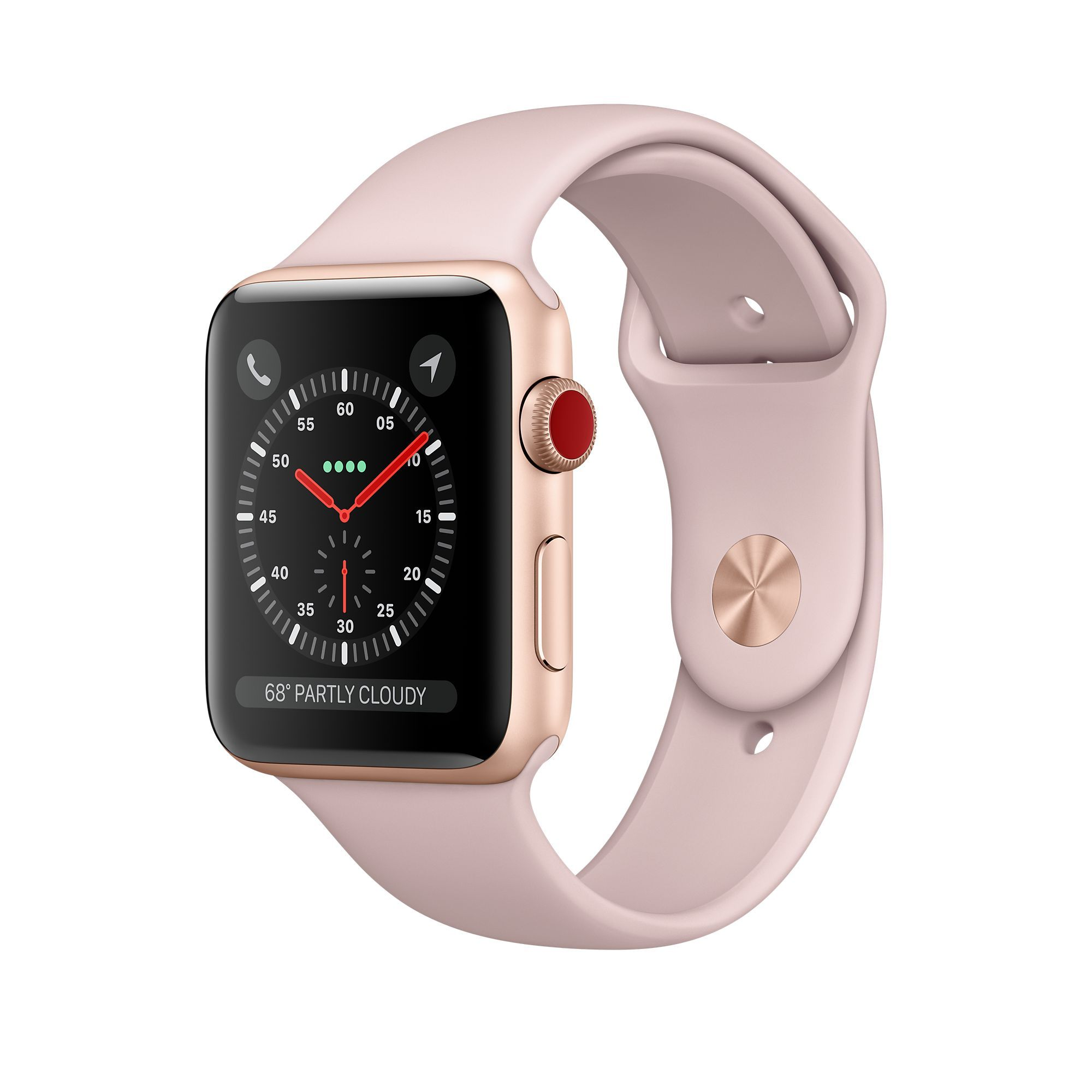 Apple Watch Series 3 42mm (GPS + Cellular, Gold Aluminum - Pink Sand Sport Band)