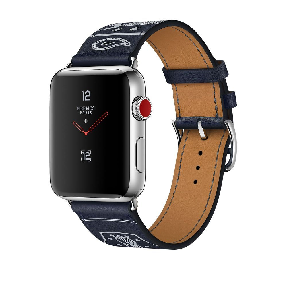 Apple Watch Hermès 42mm Stainless Steel Case with Marine Gala Leather Single Tour Eperon d'Or