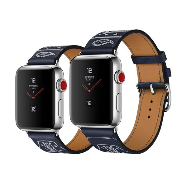 Apple Watch Hermès 38mm Stainless Steel Case with Marine Gala Leather Single Tour Eperon d'Or