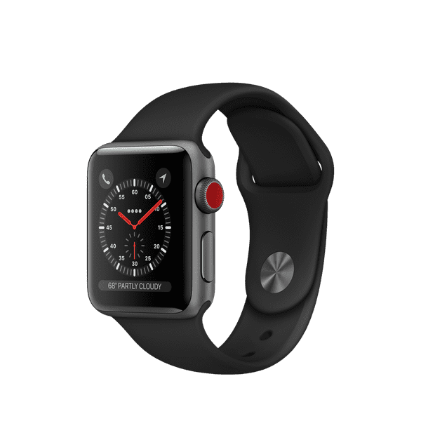 Apple Watch Series 3 GPS + Cellular 38mm, Space Gray Aluminum - Black Sport Band