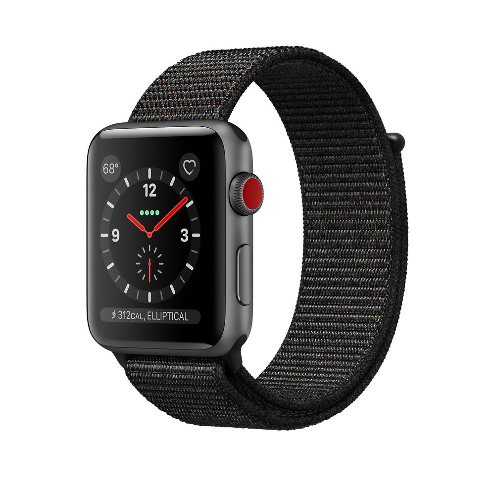 Apple Watch Series 3 GPS + Cellular 42mm, Space Gray Aluminum - Black Sport Loop