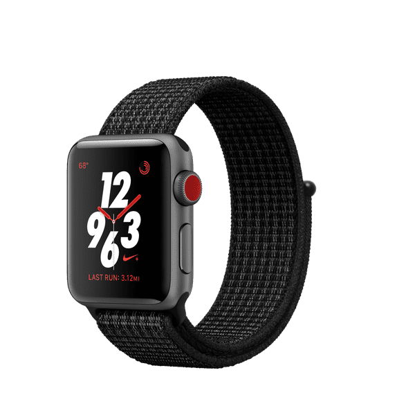 Apple Watch Nike+ GPS + Cellular Series 3, 38mm Space Gray Aluminum - Black/Pure Platinum Nike Sport Loop