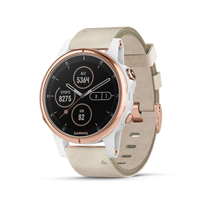 Garmin Fenix 5S Plus Sapphire 42mm, Rose Gold w/Beige Leather Band