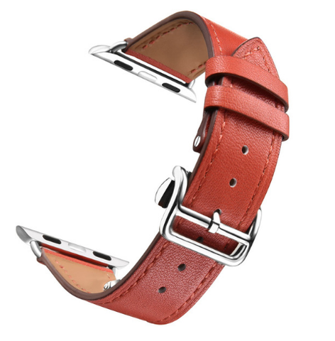 Dây da Apple Watch 38mm Deployment Buckle - Đỏ cam
