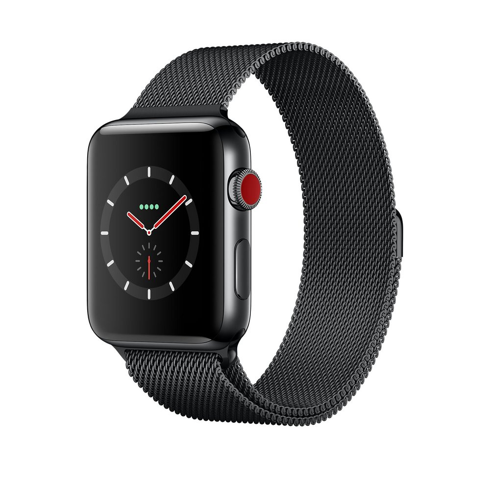 Apple Watch Series 3 GPS + Cellular 42mm, Space Black Stainless Steel Case with Milanese Loop, mới 99%