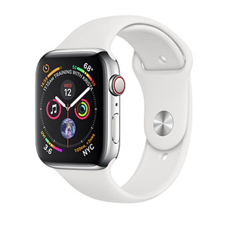 Apple Watch Series 4 GPS + Cellular 44mm, Stainless Steel - White Sport Band