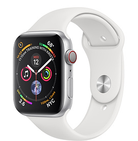 Apple Watch Series 4 GPS + Cellular, 44mm Silver Aluminum Case with White Sport Band