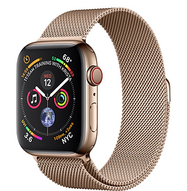 Apple Watch Series 4 GPS + Cellular 44mm, Gold Stainless Steel - Gold Milanese Loop