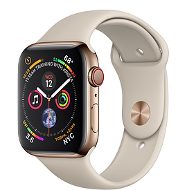 Apple Watch Series 4 GPS + Cellular 44mm, Gold Stainless Steel - Stone Sport Band