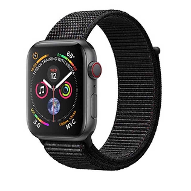 Apple Watch Series 4 GPS + Cellular, 40mm Space Gray Aluminum Case with Black Sport Loop