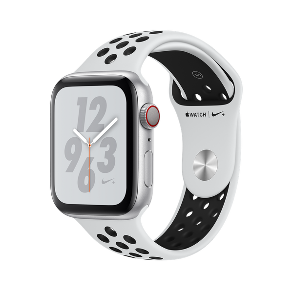 Apple Watch Nike+ GPS + Cellular Series 4 , 44mm Silver Aluminum Case with Pure Platinum/Black Nike Sport Band