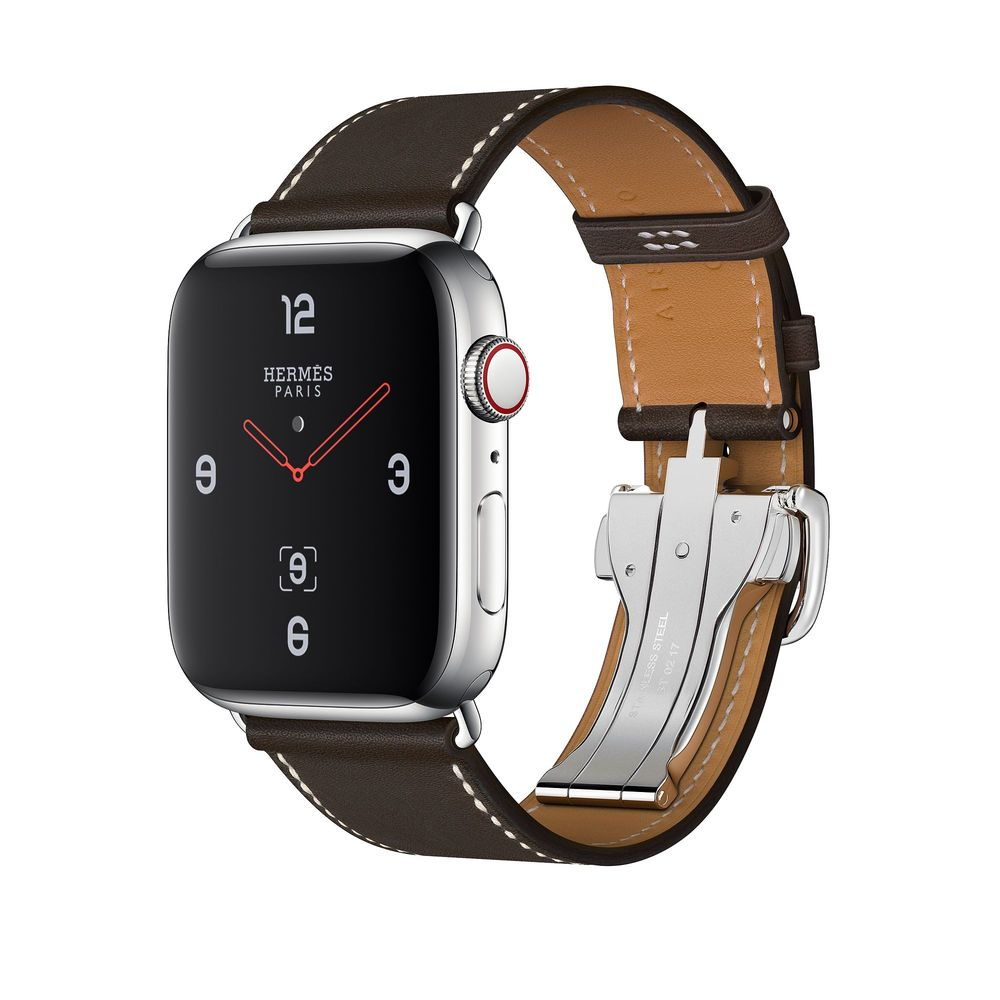 Apple Watch Hermès Series 4 44mm Stainless Steel Case with Ébène Barenia Leather Single Tour Deployment Buckle
