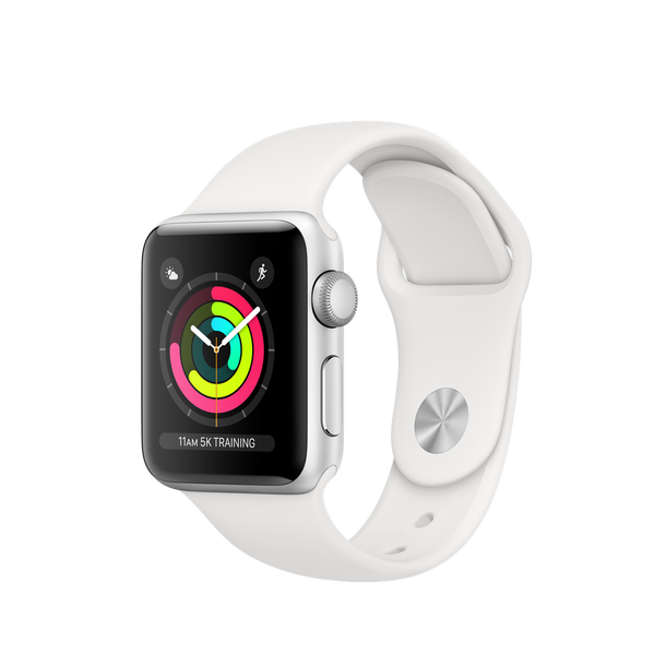 Apple Watch Series 3 GPS 38mm, Silver Aluminum - White Sport Band