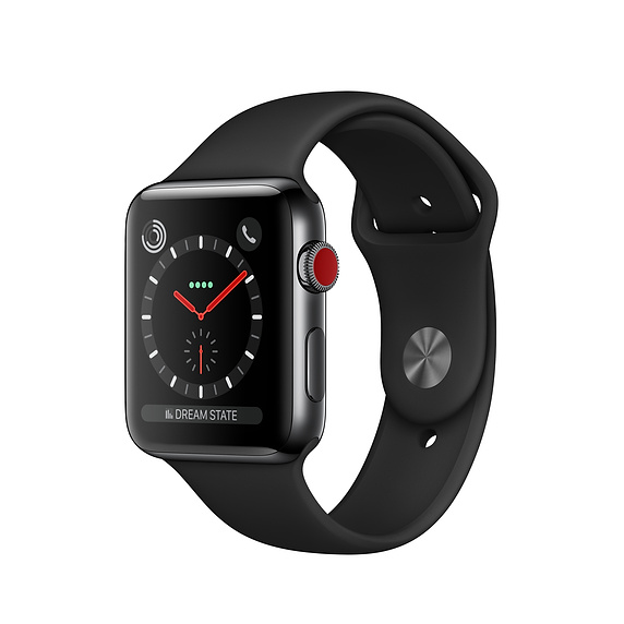 Apple Watch Series 3 GPS+Cellular, 42mm Stainless Steel Black Sport Band- 99%