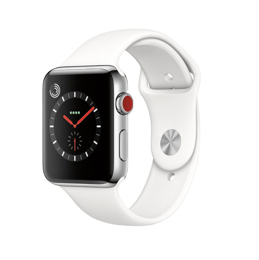 Apple Watch Series 3 GPS+Cellular, 42mm Stainless Steel Silver Sport Band- 99%