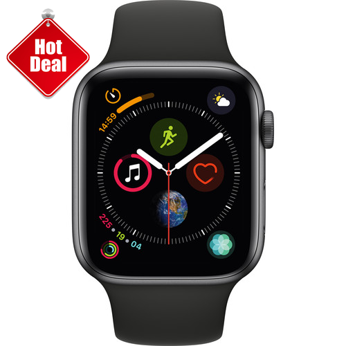 Apple Watch Series 4 GPS 44mm, Space Gray Aluminum - Black Sport Band