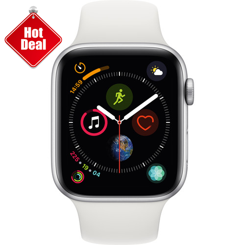 Apple Watch Series 4 GPS 44mm, Silver Aluminum - White Sport Band