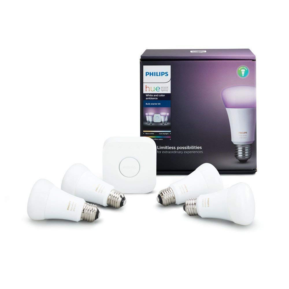 Bộ đèn màu Philips Hue White and Color Ambiance (4 x A19 Bulbs + 1 Hub)