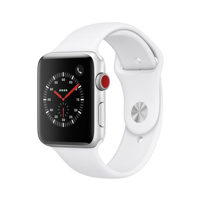 Apple Watch Series 3 42mm (GPS + Cellular), Silver Aluminum - White Sport Band 99%