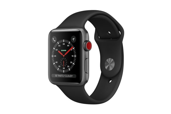 Apple Watch Series 3 38mm (GPS + Cellular), Space Gray Aluminum - Black Sport Band - 99%