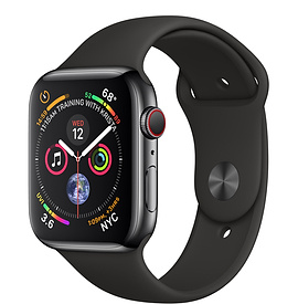 Apple Watch Series 4 GPS + Cellular 44mm, Space Black Stainless Steel - Black Sport Band 99%