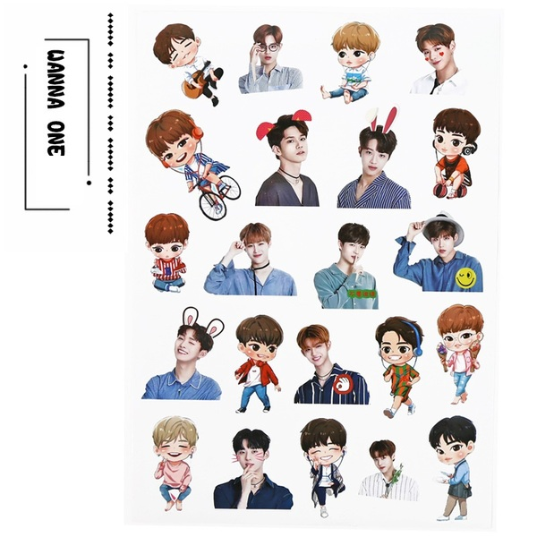 Tệp sticker dán size A4 lớn WANNA ONE