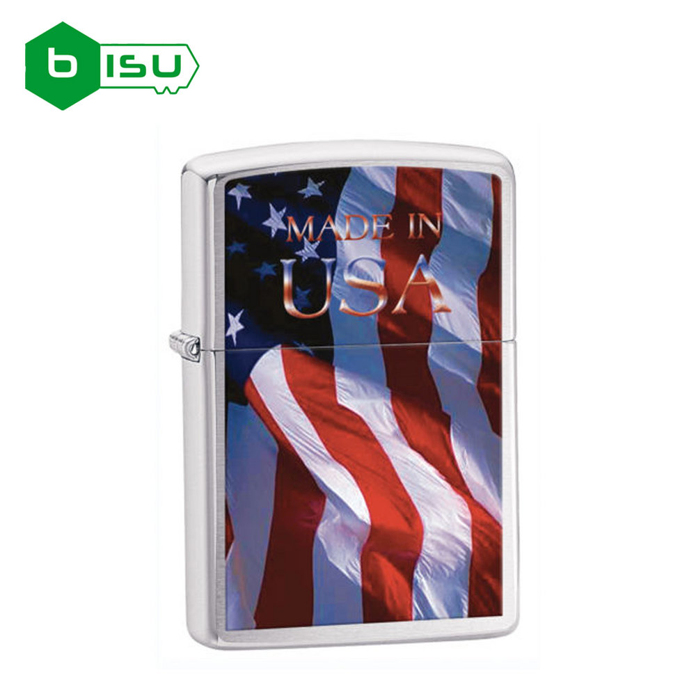 Zippo 24797 - Vỏ Chrome bóng Hình Cờ Mỹ (Made In Usa Flag Lighter Brushed Chrome)