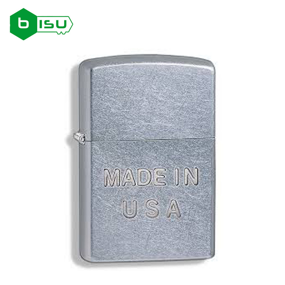 Zippo 28491 - Vỏ Chrome xước lần Chữ Made in USA (Made in the USA Stamp Street Chrome)