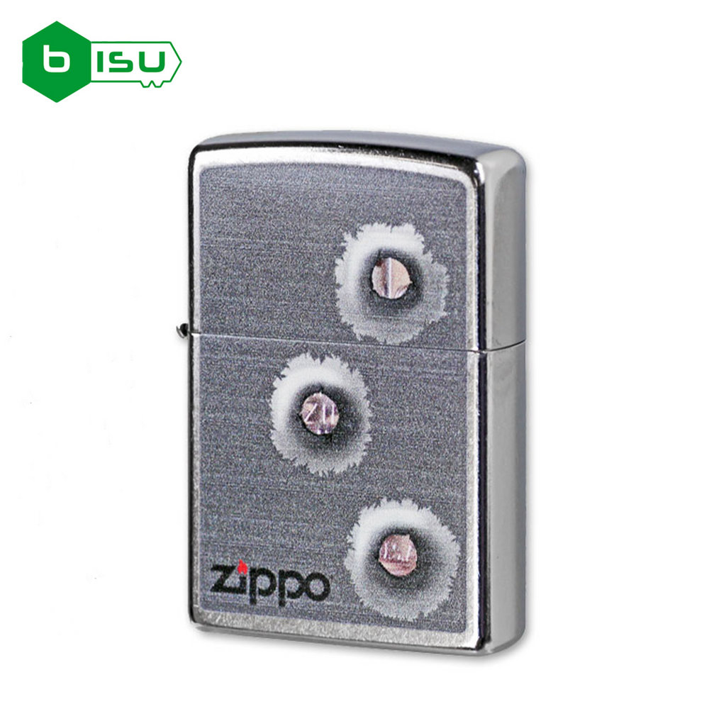 Zippo 28870 - Vỏ Chrome hình ba lỗ đạn (Bullet holes street chrome finish full size Lighter)