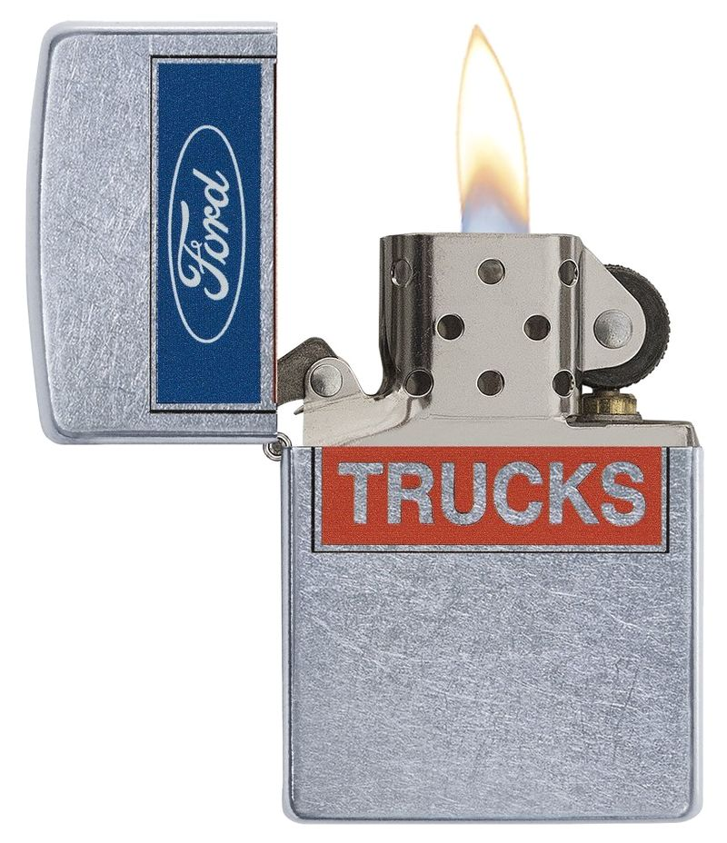 Zippo 29066 - Vỏ Chrome xước in Logo Ford chữ TRUCKS (Ford Script in Oval Logo)