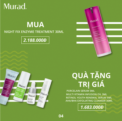 KMT4: Set Enzyme chỉnh sửa da ban đêm Murad Night Fix Enzyme Treatment