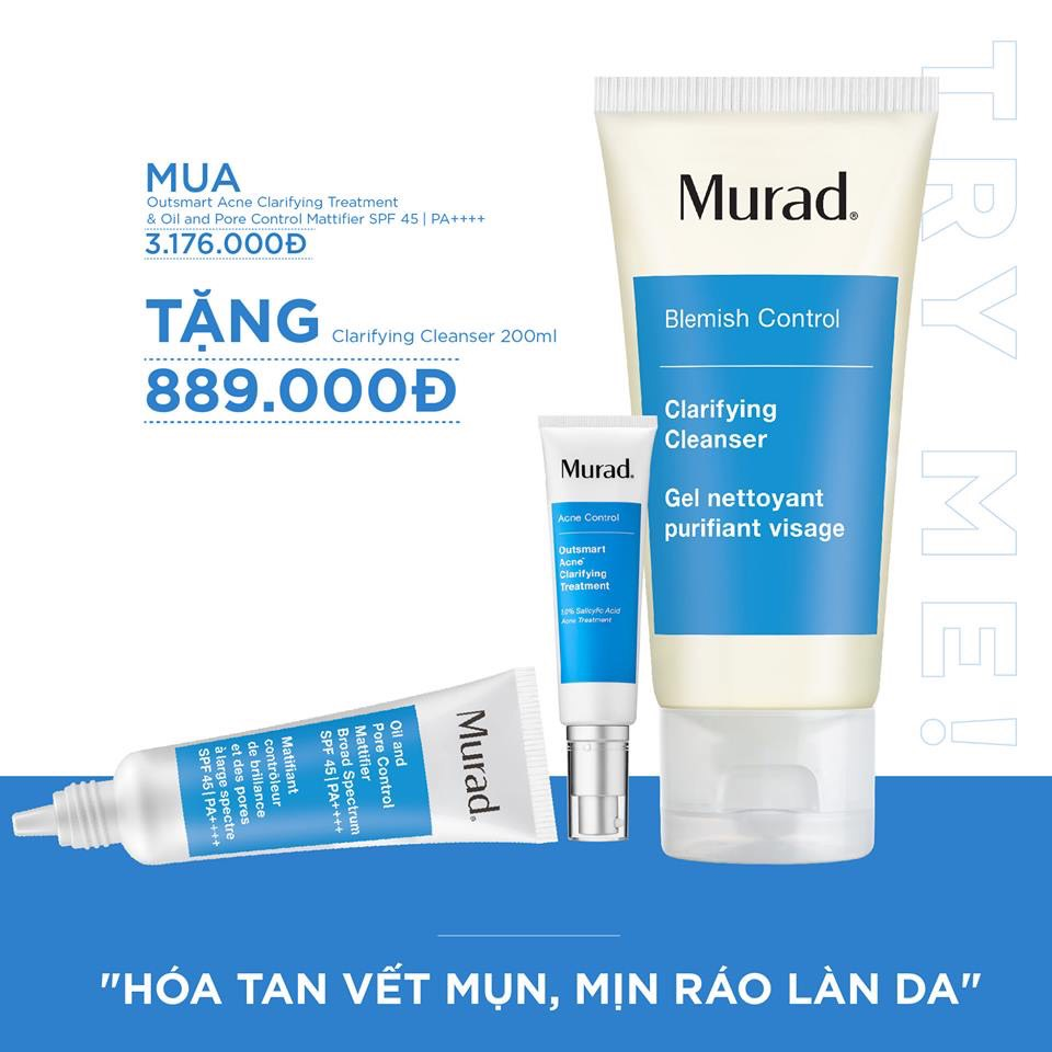 KMT10 - Set mụn murad Ousmart acne + Oil & Pore (Free: Clarifying cleanser)