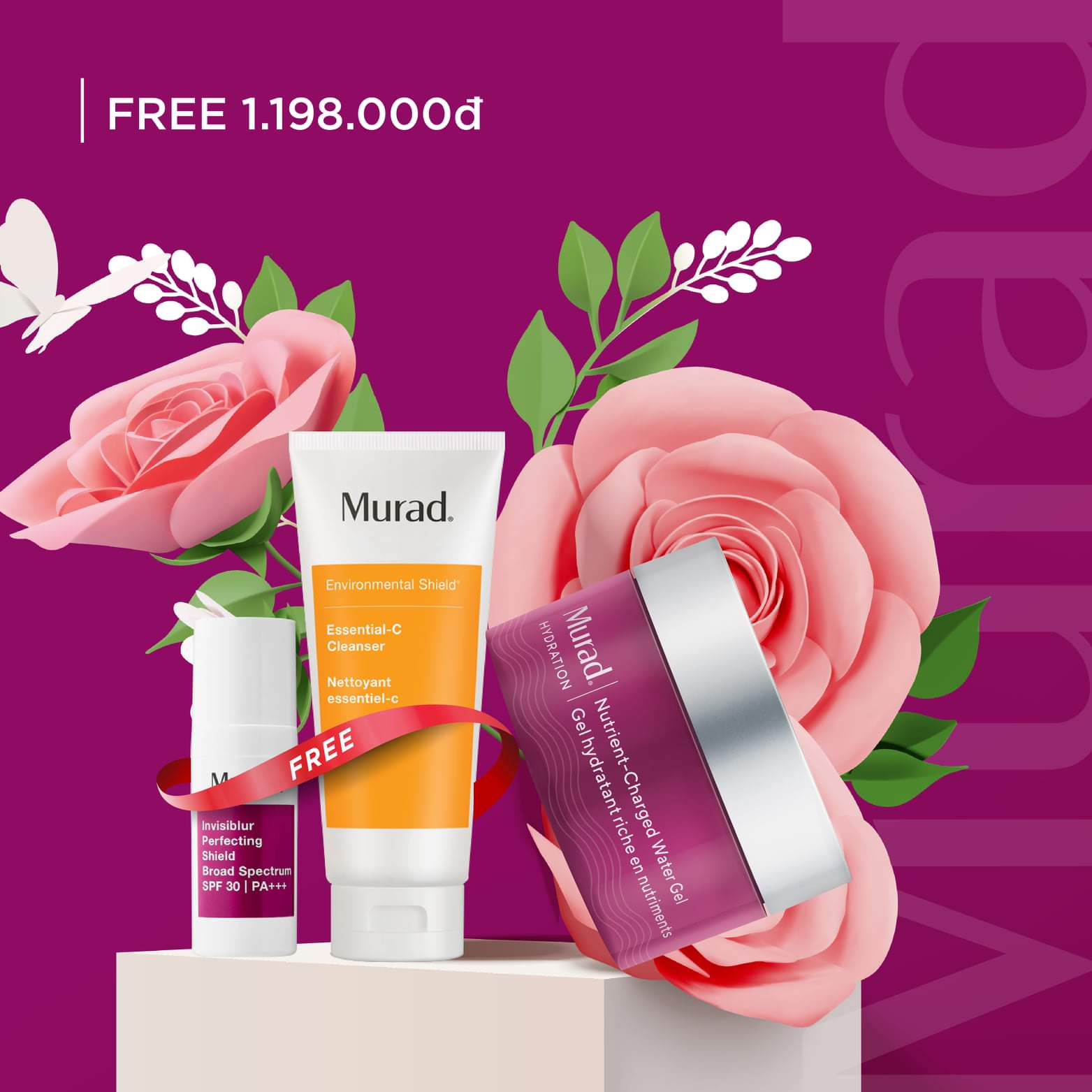 KMT10: Mua Nutrient-Charged Water Gel, tặng Essential-C Cleanser (60ml) trị giá 390.000đ và Invisiblur 10ml 808.000đ