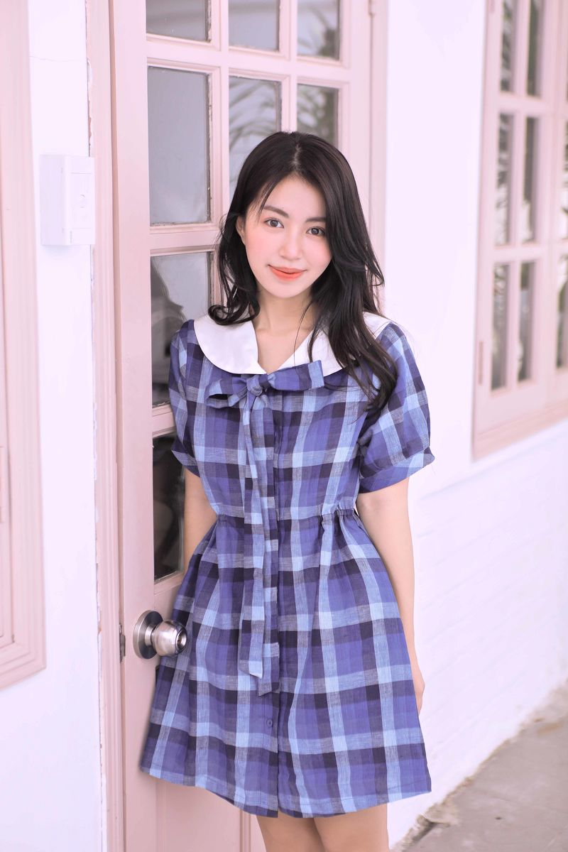 0120 Checked Momo Dress