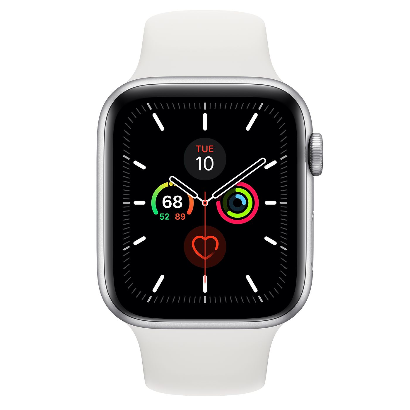 Apple Watch Series 5 GPS + Cellular, 44mm Silver Aluminum Case with Sport Band