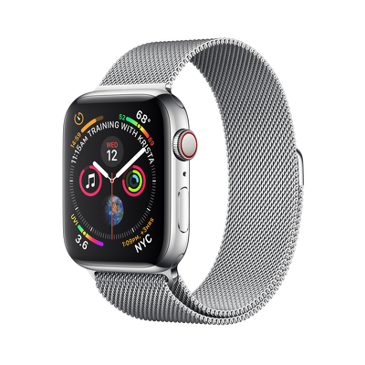 Apple Watch Series 4 GPS + Cellular, 40mm Stainless Steel with Silver Milanese Loop (e-sim)