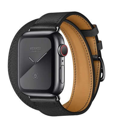 Apple Watch Hermès GPS + Cellular, 40mm Space Black Stainless Steel Case with Noir Swift Leather Double Tour