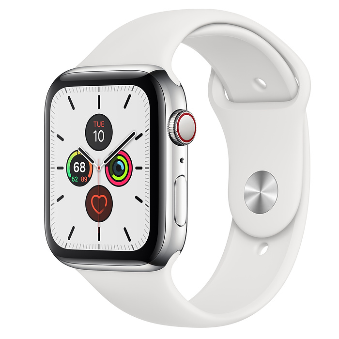 HN - Apple Watch Series 5 GPS + Cellular, 44mm Stainless Steel Case with White Sport Band - mới 99%, esim Viettel