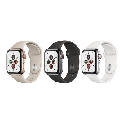 Apple Watch Series 5 GPS + Cellular, 40mm Stainless Steel Case - Sport Band - VN/A