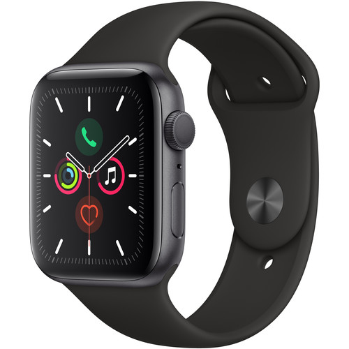 Apple Watch Series 5 GPS 44mm, Space Gray with Black Sport Band