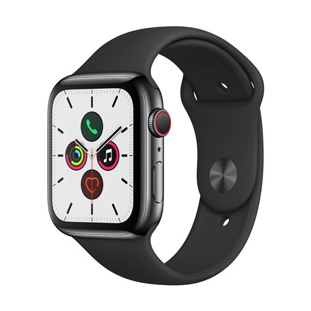 Apple Watch Series 5 44mm Space Black Stainless Steel Case with Black Sport Band